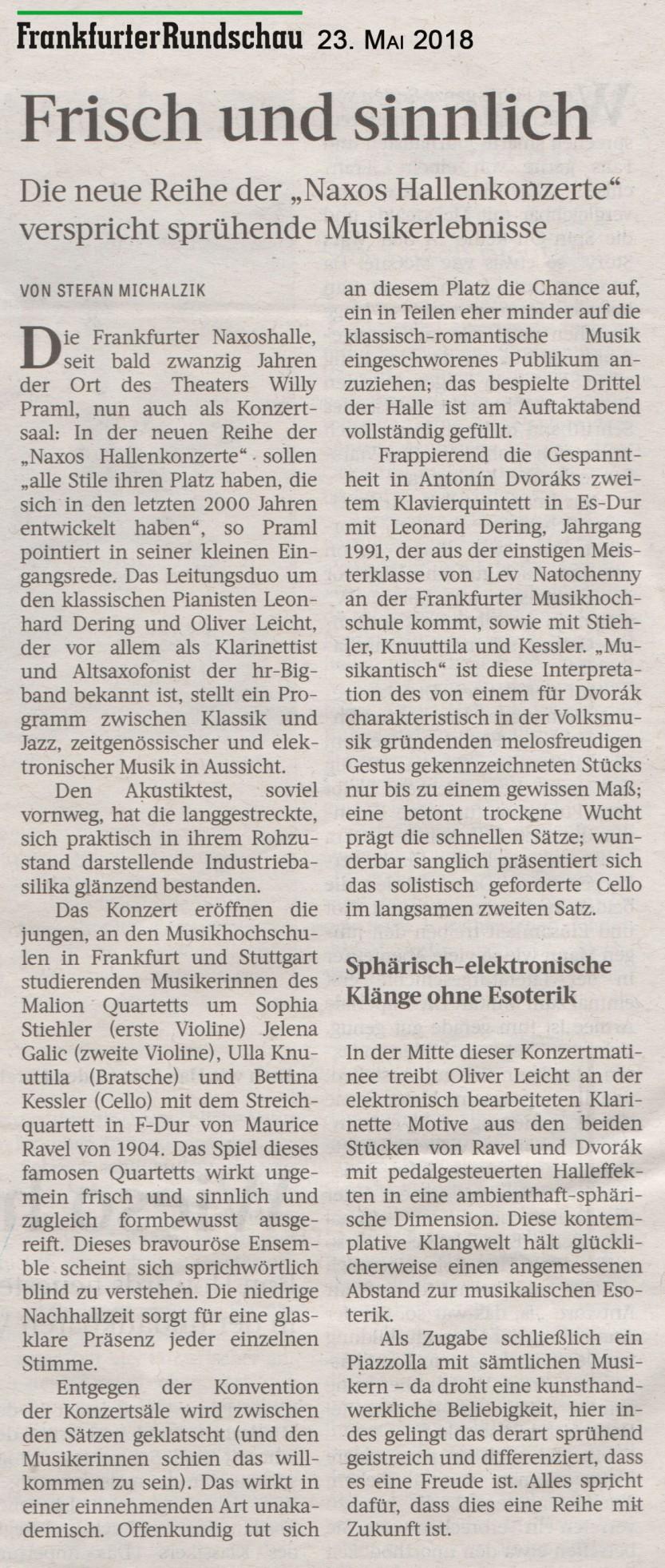 Frankfurter Rundschau Konzertkritik 23.5.18 - NAXOS Hallenkonzert