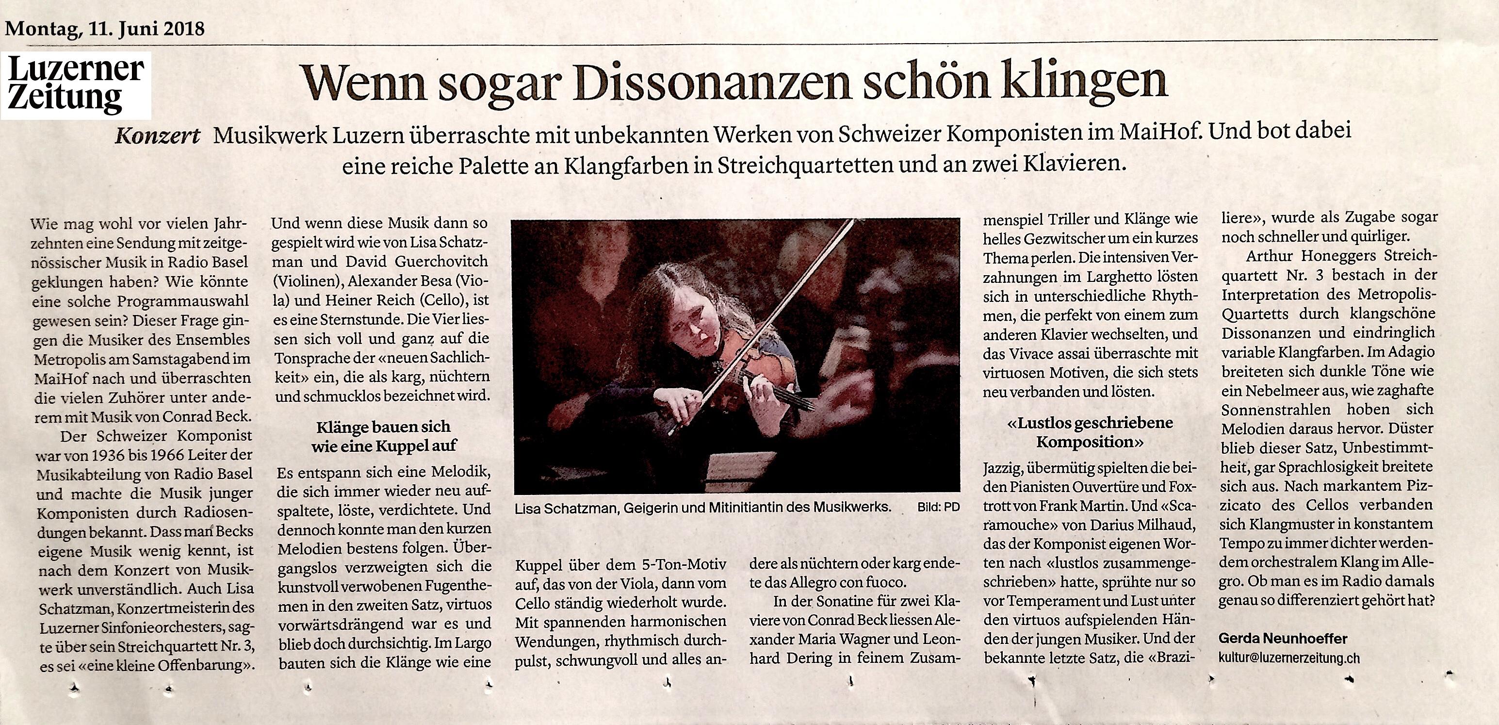 Konzertkritik Luzerner Zeitung 11.6.18 - Klavierduo Dering-Wagner